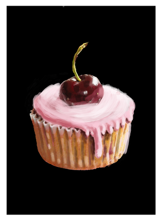 Cupcake with cherry card